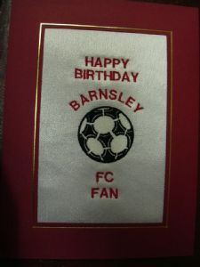 PERSONALISED EMBROIDERED BARNSLEY FC CARD - FOOTBALL